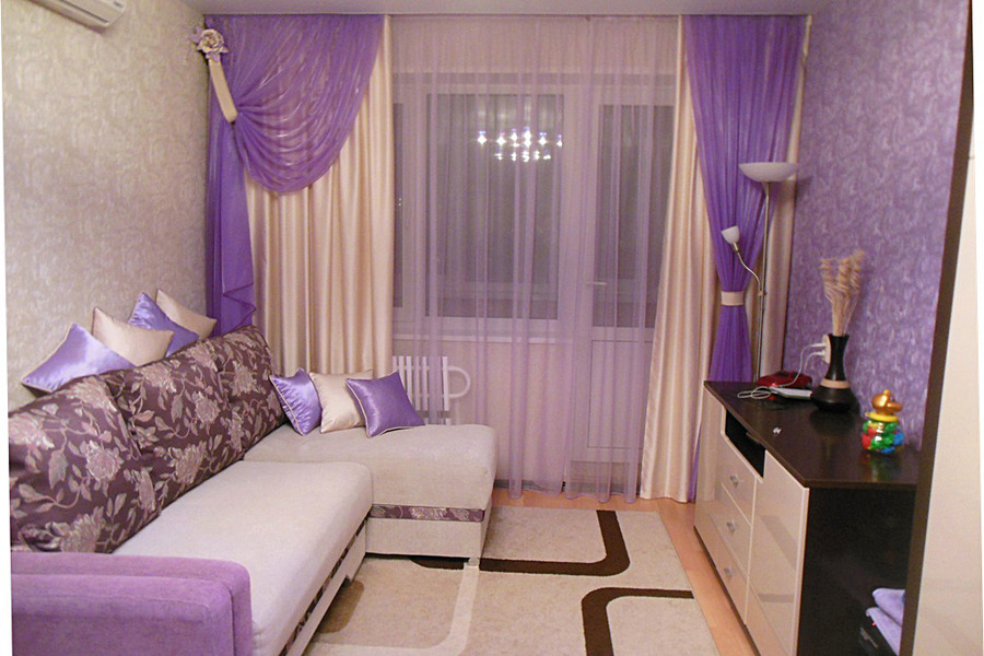 Фиолетовые шторы в интерьере фото